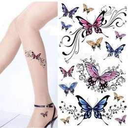 Wholesale Tattoos Sleeves Patterns - Sexy Colorful Flower Waterproof Temporary Tattoos Sleeve Women Removable Body Tattoo Stickers Henna Fake Tattoo Paste Pattern