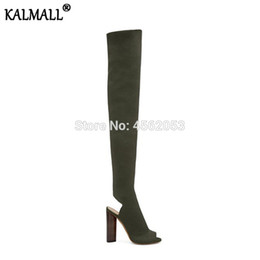 kim kardashian boots Coupons - KALMALL Kim Kardashian Ladies Shoes Slip On Stretchy Sock Long Boot Slingback Peep Toe Block Heel Knitted Thigh High Boots Women