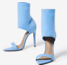 2018 mulheres Stassi Pointed Cuff Heel Lycra sandálias sapatos de casamento sandálias de salto alto dedo aberto sandálias nude partido sapatos senhora cheap toe cuffs de Fornecedores de algemas