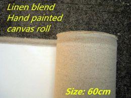 Wholesale Texture Canvas Art - 60cm wide smooth texture linen blend art painting canvas fabric roll