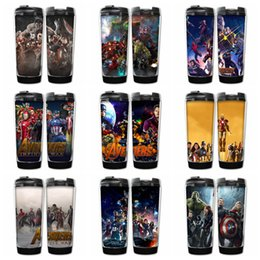 Wholesale gears wars - 9 Designs Marvel Avengers Infinity War Cups double insulated vacuum cups SuperheroThanos Stainless Steel Kids bottles Hydration Gear AAA442