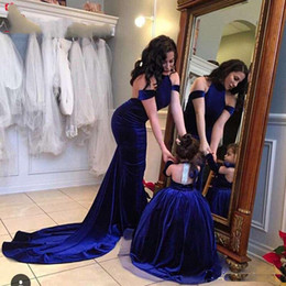 Wholesale Long Diamond Prom Dresses - 2018 Modest Sexy Halter Off Shoulder Backless Mother And Daughter Velvet Evening Dresses Diamonds Long Formal Gowns Prom Party