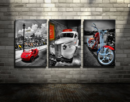 Wholesale Hd Car Pictures - Original New Home Decor Art HD Print Landscape Oil Painting Wall Decor Art on Canvas, XM40,Cool Cars and Motorcycle 3PC Unframed