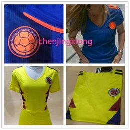 Wholesale girl teams - AA+2018 Women's World Cup Women's Colombian National Team Jersey Away Girls' Soccer Jersey #10 James Women's Football Shirt