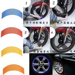 """Wholesale Rims Decals - 16 Strips New Bike Car Motorcycle Wheel Tire Reflective Rim Stickers And Decals Decoration Stickers 18"""" 4 Color Car Styling"""