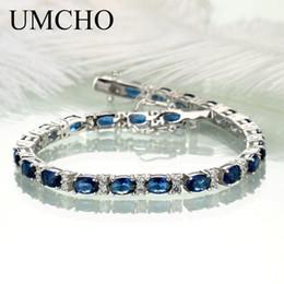 saphir armbänder blau silber Rabatt UMCHO Echt 925 Sterling Silber Schmuck Oval Erstellt Nano Blue Sapphire Armband Romantische Charme Armbänder Für Frauen Geschenke