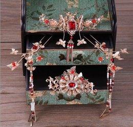 Argentina Elegancia y lujo, conjunto clásico de coronas de Phoenix, novias, muestra de trajes antiguos chinos, ropa de hierba, vestido de dragón y fénix, peluquería Suministro
