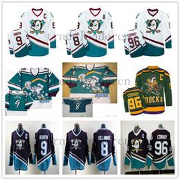 Wholesale Ice Hockey Jersey Ducks - Men's Mighty Ducks 96 Charlie Conway 9 Paul Kariya 8 Teemu Selanne The Mighty Ducks Of Anaheim Movie Hockey Jerseys White Purple Black
