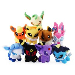 Wholesale Glaceon Leafeon Stuffed Animals - Hot Sale 9pcs Lot Mini 15CM Umbreon Eevee Espeon Jolteon Vaporeon Flareon Glaceon Leafeon pikachu Soft Stuffed Plush Animals Toy
