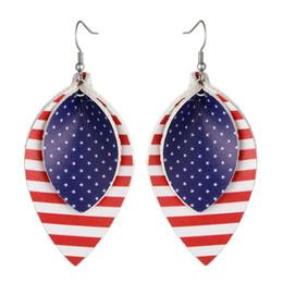 Canada Nouveau drapeau américain en cuir boucles d'oreilles bijoux de mode bande en cuir PU en forme de larme déclaration boucles d'oreilles Jour de l'indépendance femmes hommes Offre