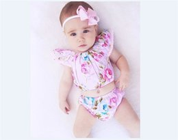 Wholesale Tube Tutu Top - Baby Girls Flower Print Bodice Top+Briefs Set with Headbands Summer Baby Boutique Clothing Cute Kids Girls Pink Tube Tops Outfits B11