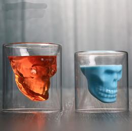 2019 rubinrote kristallgläser Schädelweinglasschale Kristallbierkrugpersönlichkeitsbar kreatives doppeltes transparentes Glas Drinkware Weingläser