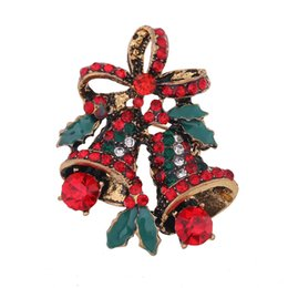 vintage christmas bells Promo Codes - New Vintage Red Rhinestone Bowknot Christmas Bells Brooch Pins For Women Alloy Enamel Lapel Brooch Pins Female Party Jewelry