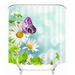 Canada Salle de bains Produits Rideaux de douche 3D Fleurs colorées Motif de papillon Tissus lavables et lavables Rideaux de salle de bain Personnaliser supplier flowered shower curtains Offre