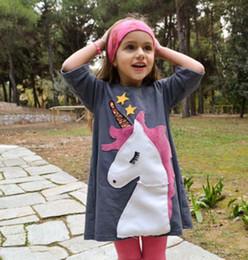 2019 vestidos para estrelas Baby girl INS Unicorn Estrelas vestido 2018 New kids fashion dos desenhos animados princesa padrão de manga Curta Vestidos B001 vestidos para estrelas barato