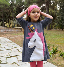 Argentina Baby girl INS Unicorn Stars dress 2018 Nueva moda infantil princesa de dibujos animados patrón de manga corta vestidos B001 supplier dress pattern star Suministro