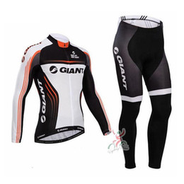 Wholesale Bicycle Giant Jersey Long - GIANT team Cycling long Sleeves jersey (bib) pants sets thin Ropa Ciclismo quick-dry MTB bicycle Fashion Sportswear men C1404