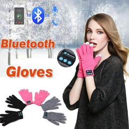Wholesale Bluetooth Iphone Pairing - Wireless Bluetooth Knit Gloves Warm Unisex Winter Touch Screen Soft Knitted Gloves Handsfree Music Smart Headset 2pcs pair For Smart Phone