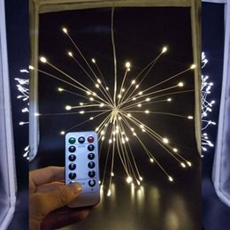 Wholesale Remote For Flash - 150LED Battery Powered 8 Modes Copper Wire String Light Firework LED Starburst Lights with Remote Control for Christmas Home Decoration
