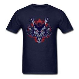 Homens pretos quentes camiseta on-line-Samurai Dragon Tops T-shirt Dos Homens Louco Japão Anime Camiseta Hot Sangue 80 Roupas Vintage Preto Camiseta Mal Monstro Tee
