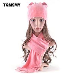 Wholesale Velvet Hats Ladies - TQMSMY New style winter hats for women's soft velvet beanies Lovely girls cat ears cap Ladies autumn bone 2 Pieces Hat Scarf set