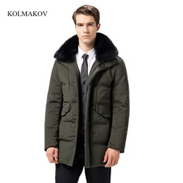 Wholesale high end down coats - New arrival winter style men high-end down coats fashion casual datachable hair collar men's thick solid zippers coat size M-3XL