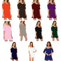 Wholesale low shoulder tops - Sexy loose dresses casual chiffon skirt women tops loose low collar short sleeve dress Home Clothing GGA483 12pcs