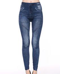 Wholesale Wholesale Jean Leggings - Fake Jean printed Leggings Women 2017 high elastic jeggings fake jeans womens leggings with 2 pockets casual fasion leggins