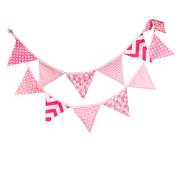 Wholesale String Triangle - Safe Resuable Pennant Polyester Cloth Triangle Shape Hanging Banners Colorful Cute Washable String Flags Pink White 13 5wf B