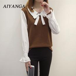 European Fashion Plus Size 5XL Women Pullovers Peter Pan Collar Knit Shirt  Long Sleeve Spliced Shirts Tops 2018 Spring Blouses 64c72d2d9