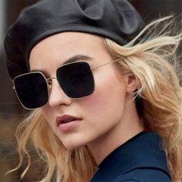 lunettes de soleil de célébrité Promotion Nouveau Marque Designer Célébrité En Métal Hommes Lunettes De Soleil Surdimensionnées Mode De Luxe Carré lunettes de Soleil Femmes Miroir Objectif Oculos De Sol