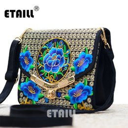 Wholesale Hmong Bags - Lady Vintage Embroidered Shoulder Bags Women's Handmade Boho Hobo Hmong Ethnic Cute Flowers Embroidery Women Small Shoppers Bags
