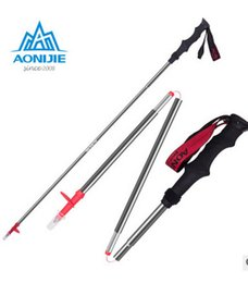 Wholesale Pole Cross - High Quality 3 Folding Z Rod Cross Country Running Stick Folding Cane Hiking Cane Travel Camping Walking Outdoor Equipment