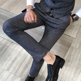 Wholesale Good Dress Pants - Left ROM High-quality Goods Pure Cotton Formal Business Men Fashion Gray Suit Pants   Male Premium Brand Casual Pants Dress