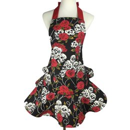 Wholesale Wholesale Aprons For Women - Fashion Lady Aprons Cotton Canvas Rose Skull Head Apron Kitchen Cooking Pinafore For Woman Waiter Cleaning Accessories 26dj C R