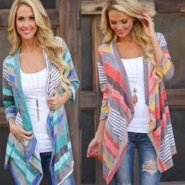 Wholesale Sweater Woman V Neck Striped - Wholesale- 2016 Autumn Fashion Casual Womens Boho Cardigan Colorful Stripes Loose Sweater Outwear Knitted Jacket Coat Tops