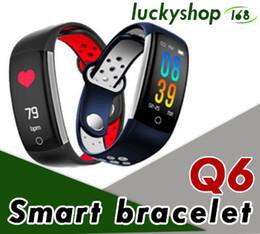 kamera q6 Rabatt Q6 Smart Armband Herzfrequenz Blutsauerstoff-Überwachung Fitness-Armband Nachricht Anruf Erinnerung IP68 Wasserdichte Remote-Kamera 1St