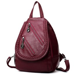 ca1b1036f064 Fashion Women Backpack High Quality PU Leather Bag For Teenage Girls Two  Zippers Small Women Bag Daily Bookbag For College