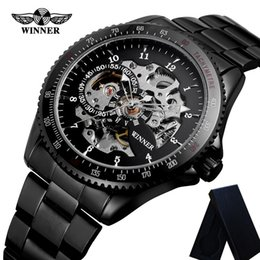 Победитель спорта скелет автоматические часы онлайн-Winner Automatic Mechanical Mens Watches Stainless Steel Skeleton Man Clock Top  Sport  Male Wristwatch 0652