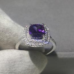 Las mujeres de lujo de la joyería del amortiguador cortan 3ct púrpura 5A cristal de circón 925 plata esterlina anillo de compromiso de la boda para las mujeres Bijoux desde fabricantes