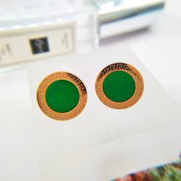 großhandel grüne smaragd mode ohrringe Rabatt Hochwertige Mode Edelstahl Luxus rose gold Überzogene runde smaragdgrün stein ohrstecker Für Frauen mutter geschenk großhandel