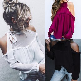 Wholesale Cheap Long Blouses - 2018 Sheer Sexy Hollow Out Shoulders Chiffon Blouse High Neck Long Sleeves Loose Fashion Women T Shirts Cheap Top and Tee for Spring Summer