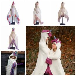 Couverture de couchage fille en Ligne-INS enfants gland Knit Blanket garçons filles de bande dessinée licorne capuche capuche hiver chaud châle manteau bébé noël sommeil swaddle