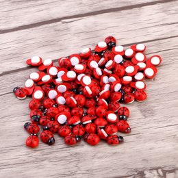 Wholesale Indoor Plants Decoration - 100pcs Bag DIY Stickers Wood Ladybug Ladybird Sticker Adhesive Back Indoor Plant Fridge Wall Sticker Home Decoration Accessories