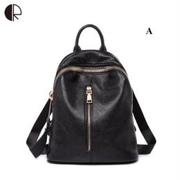 08a67ce1b tipos de bolsas escolares Desconto Chegada nova Mochila de Viagem Mulheres  Mochila Feminina Preto Couro Genuíno