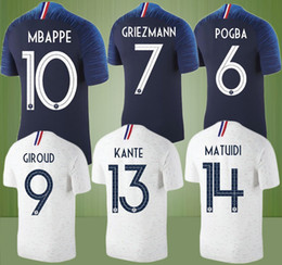 Wholesale National Teams - New 2018 France Soccer Jersey World Cup jerseys MBAPPE POGBA GRIEZMANN GIROUD KANTE 18 19 France National Team home away Football shirt