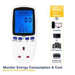 Wholesale power meter digital - 230V digital wattmeter LCD Energy power meter Wattage Voltage Current Frequency Monitor Analyzer +Power Factor Cost Overload