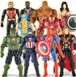 Wholesale Wholesale Kids Plastic Toys - 10 Styles The Avengers PVC Action Figures Heros 15cm Iron Man Spiderman Captain America Ultron Wolverine Figure Toys CCA9535 50pcs