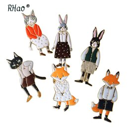 Wholesale Fox Clothing Men - Rhao Acrylic Vivid Cats Rabbits Foxes animal brooch pins for women men kids collar clothes jacket badge,bags corsage,dress clips