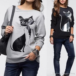 Wholesale Long Sleeve Cat Blouses - Fashion autumn Women Cotton Long Sleeve Loose hoodie sweatshirt warm Tops Blouse Shirt 2018 lady Casual cat print Sweatshirt New